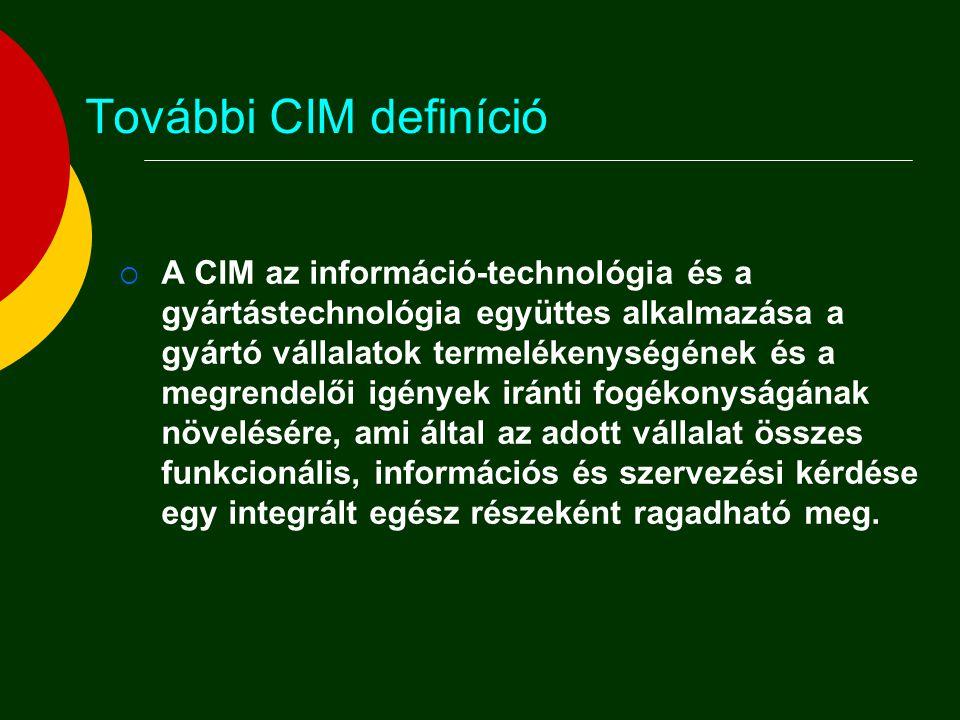 További CIM definíció  A CIM - tágabb értelmezésben - rendszerszemléletű, átfogó koncepció, amely az adott cég sajátosságait figyelembe véve szervezési, személyzetpolitikai és műszaki fejlesztéseket integrál a vállalat egészére vagy önálló részterületére vonatkozóan, azon célból, hogy az összes üzemi tevékenység információszerűen összekapcsolódjék a gyorsabb, jobb minőségű és olcsóbb termelés érdekében.