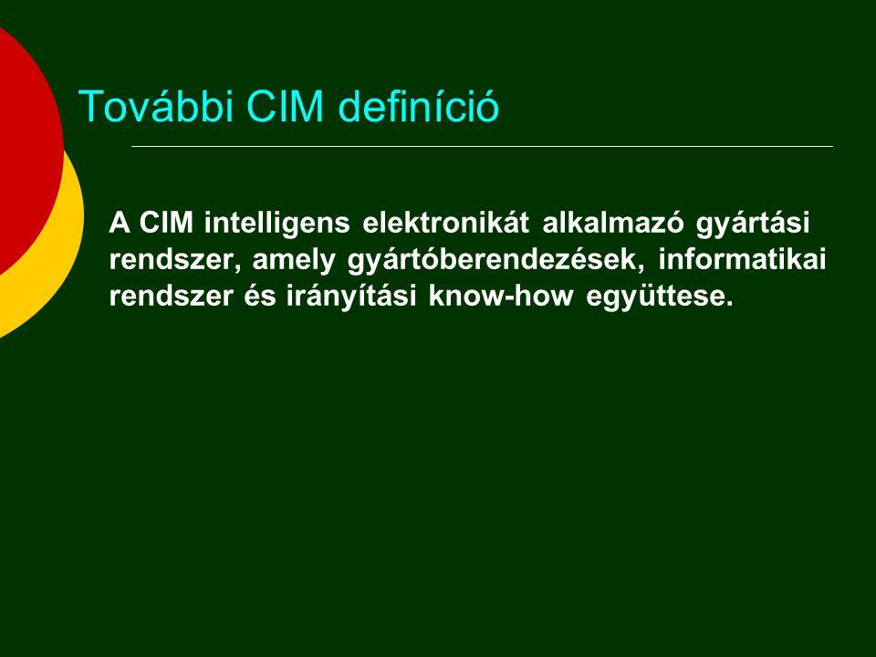 További CIM definíció  A CIM az információ-technológia és a gyártástechnológia együttes alkalmazása a gyártó vállalatok termelékenységének és a megrendelői igények iránti fogékonyságának növelésére, ami által az adott vállalat összes funkcionális, információs és szervezési kérdése egy integrált egész részeként ragadható meg.