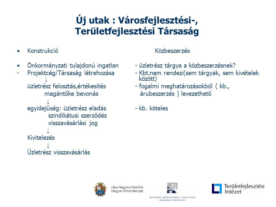 Jász-Nagykun-Szolnok Megyei Önkormányzat Új utak : Városfejlesztési-, Területfejlesztési Társaság •KonstrukcióKözbeszerzés •Önkormányzati tulajdonú ingatlan - üzletrész tárgya a közbeszerzésnek.