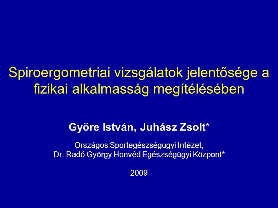 Spiroergometriai vizsgálatok jelentősége a fizikai alkalmasság megítélésében Györe István, Juhász Zsolt* Országos Sportegészségügyi Intézet, Dr. Radó
