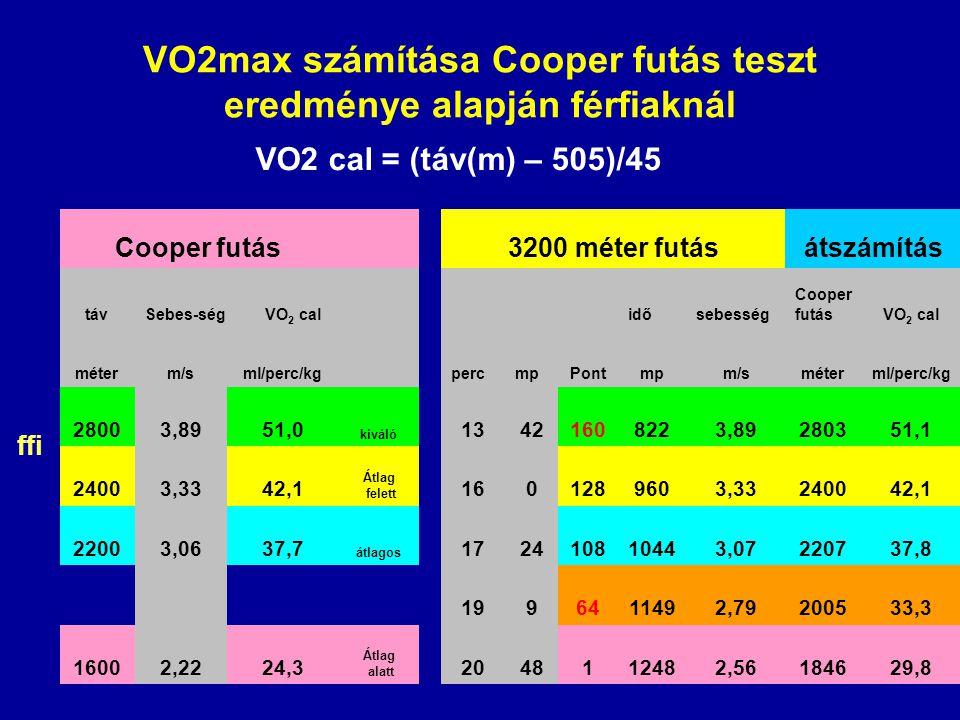 ffi Cooper futás 3200 méter futásátszámítás távSebes-ségVO 2 cal idősebesség Cooper futásVO 2 cal méterm/sml/perc/kg percmpPontmpm/sméterml/perc/kg 28