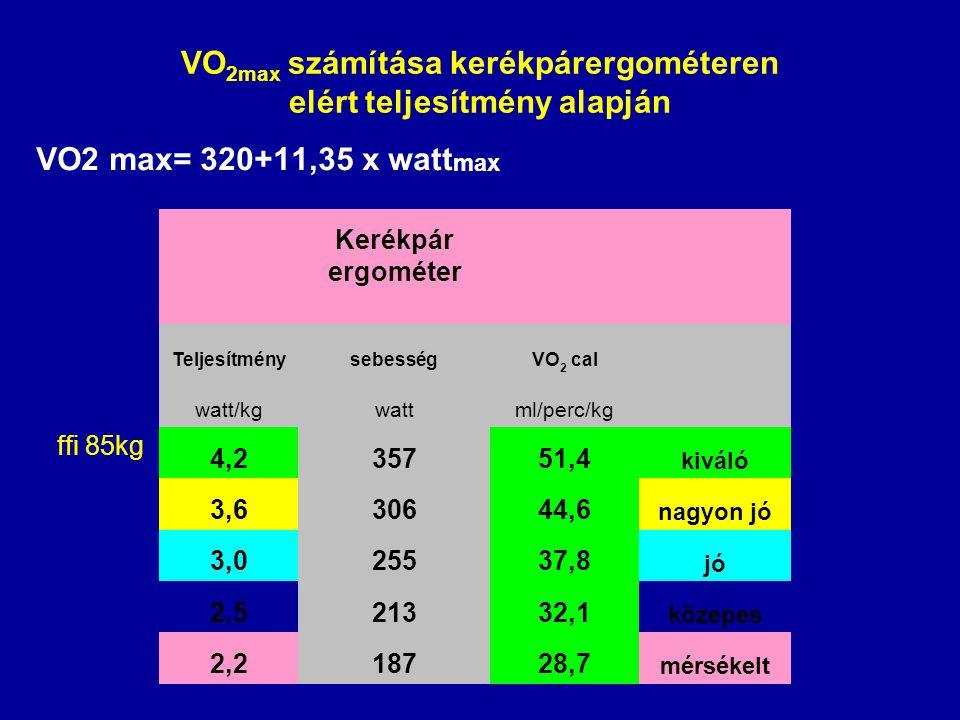 VO 2max számítása kerékpárergométeren elért teljesítmény alapján VO2 max= 320+11,35 x watt max ffi 85kg Kerékpár ergométer TeljesítménysebességVO 2 ca
