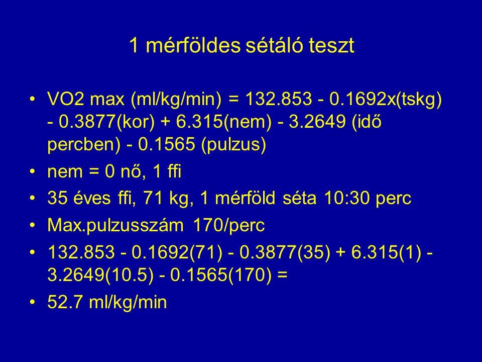 1 mérföldes sétáló teszt •VO2 max (ml/kg/min) = 132.853 - 0.1692x(tskg) - 0.3877(kor) + 6.315(nem) - 3.2649 (idő percben) - 0.1565 (pulzus) •nem = 0 n