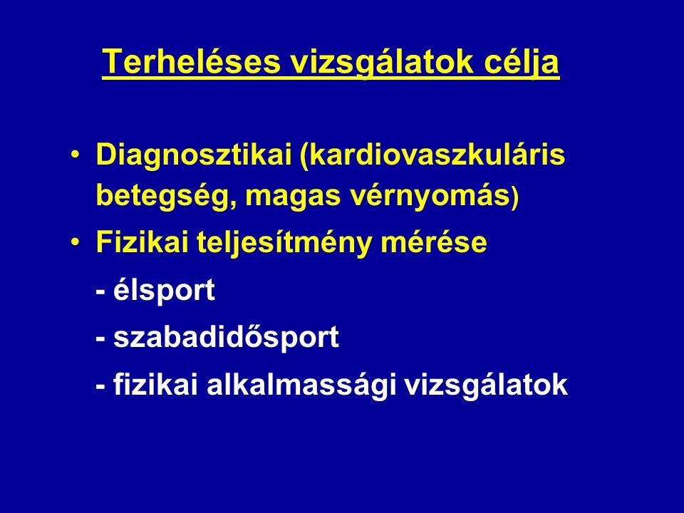 Terheléses vizsgálatok célja •Diagnosztikai (kardiovaszkuláris betegség, magas vérnyomás ) •Fizikai teljesítmény mérése - élsport - szabadidősport - f
