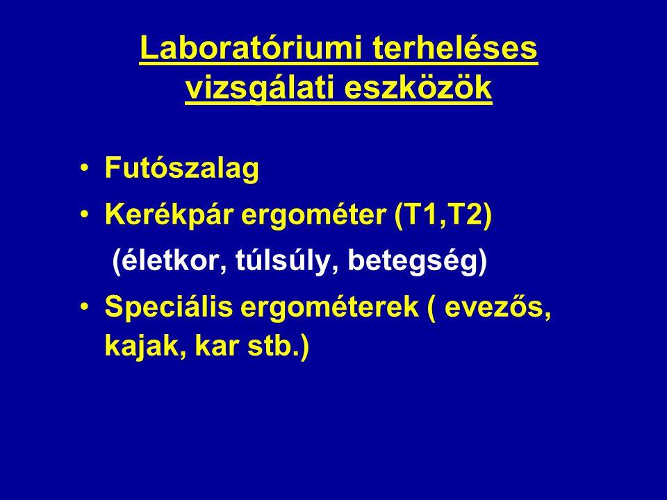 Laboratóriumi terheléses vizsgálati eszközök •Futószalag •Kerékpár ergométer (T1,T2) (életkor, túlsúly, betegség) •Speciális ergométerek ( evezős, kaj