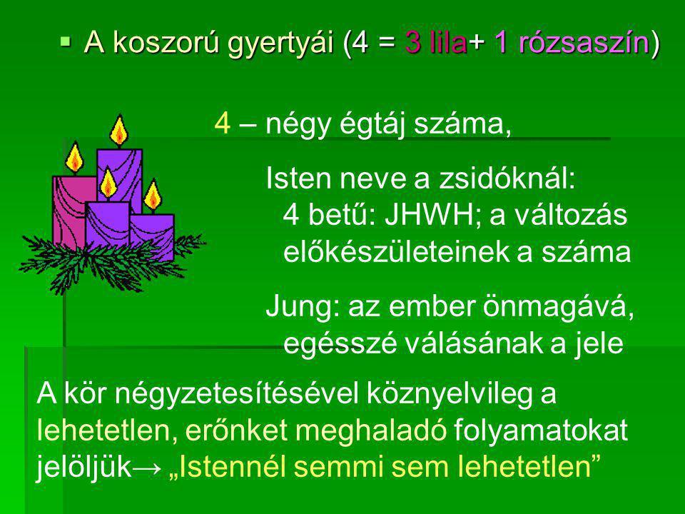  A koszorú gyertyái (4 = 3 lila+ 1 rózsaszín) 4 – négy égtáj száma, Isten neve a zsidóknál: 4 betű: JHWH; a változás előkészületeinek a száma Jung: a