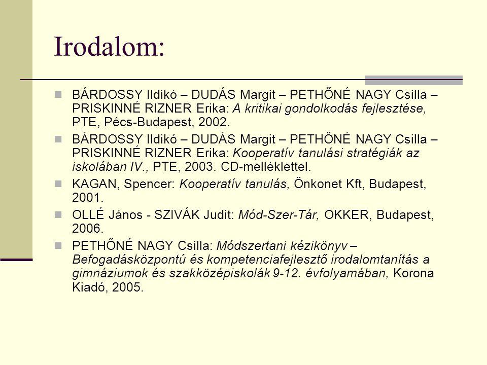 Irodalom:  BÁRDOSSY Ildikó – DUDÁS Margit – PETHŐNÉ NAGY Csilla – PRISKINNÉ RIZNER Erika: A kritikai gondolkodás fejlesztése, PTE, Pécs-Budapest, 200