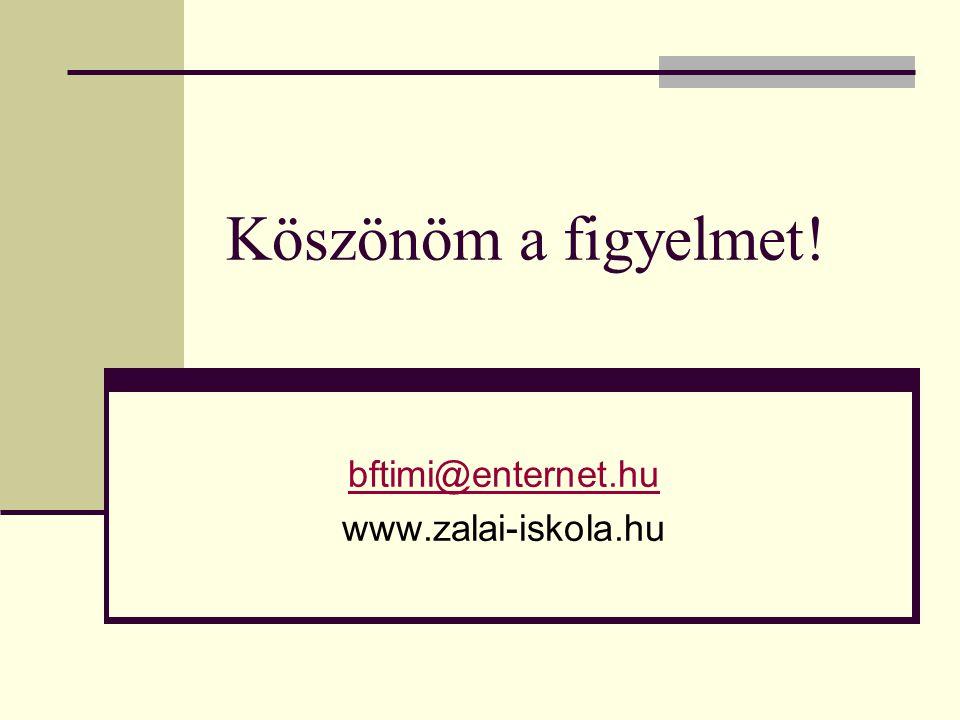 bftimi@enternet.hu www.zalai-iskola.hu Köszönöm a figyelmet!