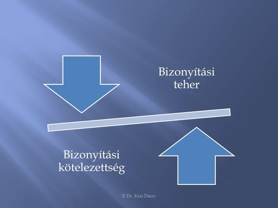 Bizonyítási teher Bizonyítási kötelezettség © Dr. Kiss Daisy