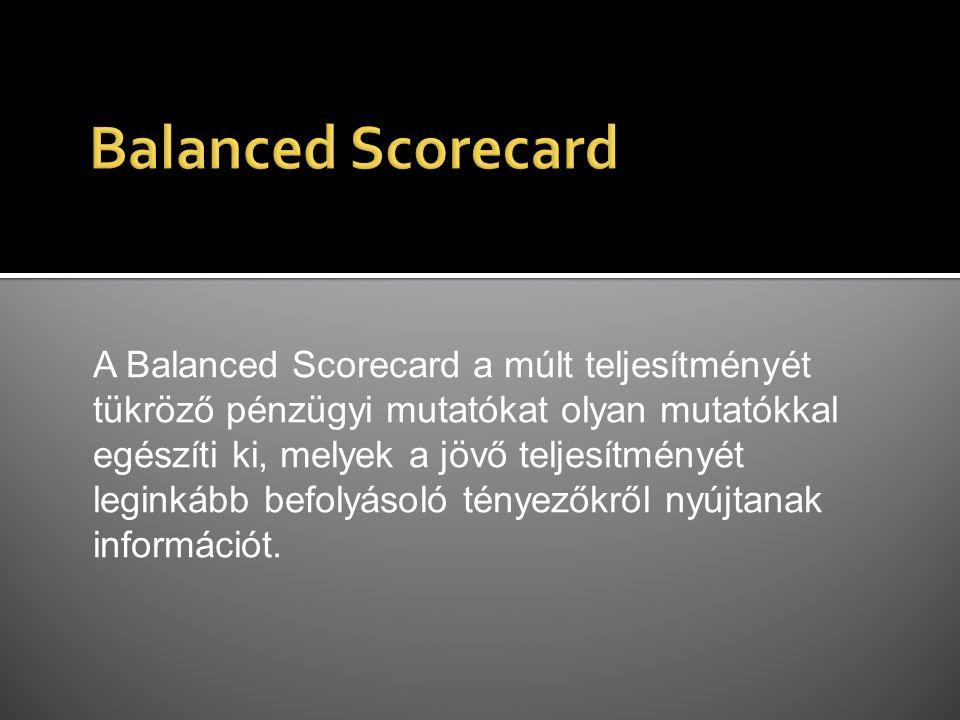 A Balanced Scorecard a múlt teljesítményét tükröző pénzügyi mutatókat olyan mutatókkal egészíti ki, melyek a jövő teljesítményét leginkább befolyásoló tényezőkről nyújtanak információt.
