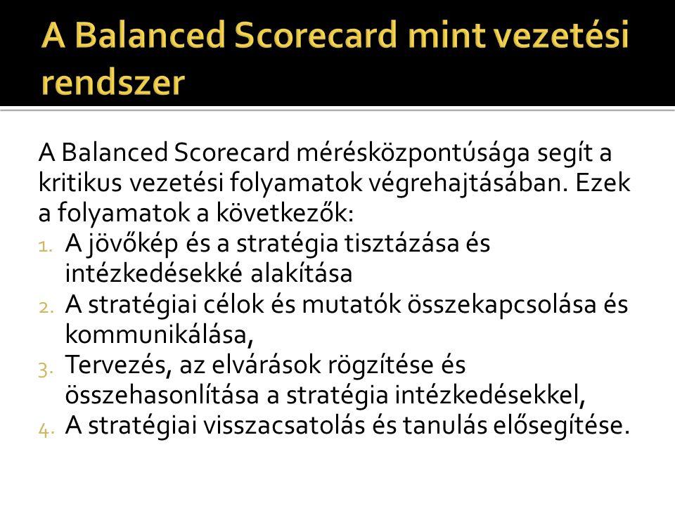 A Balanced Scorecard mérésközpontúsága segít a kritikus vezetési folyamatok végrehajtásában. Ezek a folyamatok a következők: 1. A jövőkép és a stratég