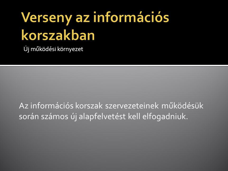 Új működési környezet Az információs korszak szervezeteinek működésük során számos új alapfelvetést kell elfogadniuk.