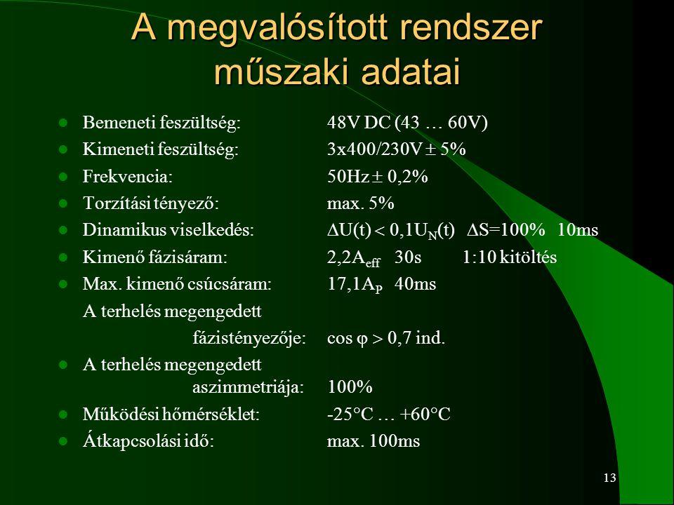 13 A megvalósított rendszer műszaki adatai  Bemeneti feszültség:48V DC (43 … 60V)  Kimeneti feszültség:3x400/230V  5%  Frekvencia:50Hz  0,2%  To