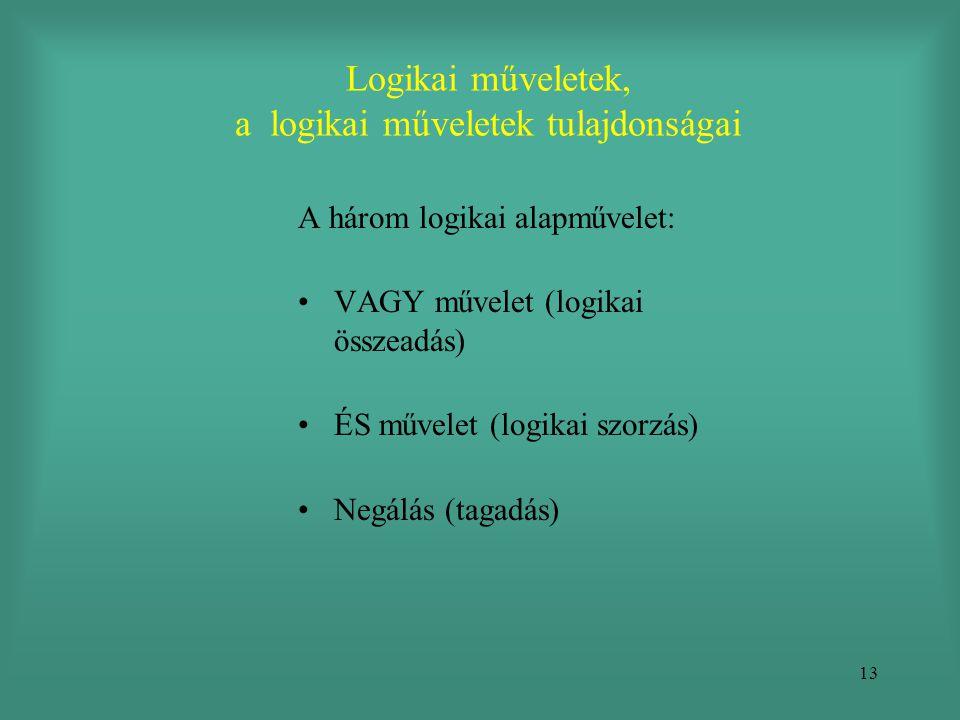 13 Logikai műveletek, a logikai műveletek tulajdonságai A három logikai alapművelet: •VAGY művelet (logikai összeadás) •ÉS művelet (logikai szorzás) •