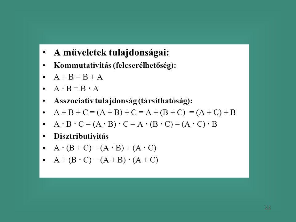22 •A műveletek tulajdonságai: •Kommutativitás (felcserélhetőség): •A + B = B + A •A  B = B  A •Asszociatív tulajdonság (társíthatóság): •A + B + C