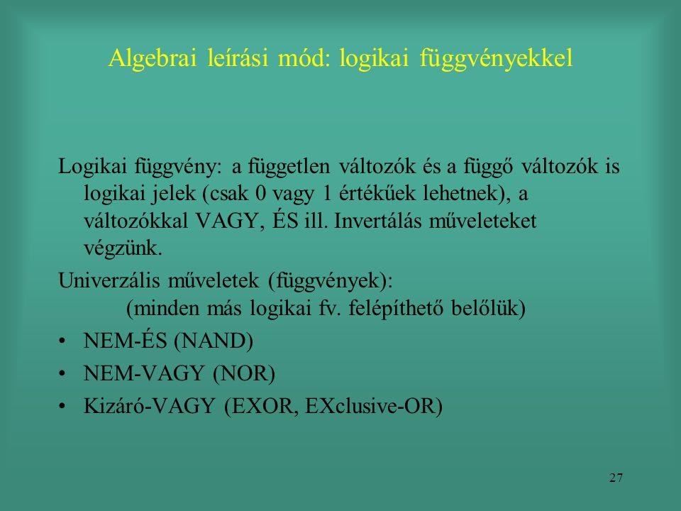 27 Algebrai leírási mód: logikai függvényekkel Logikai függvény: a független változók és a függő változók is logikai jelek (csak 0 vagy 1 értékűek leh