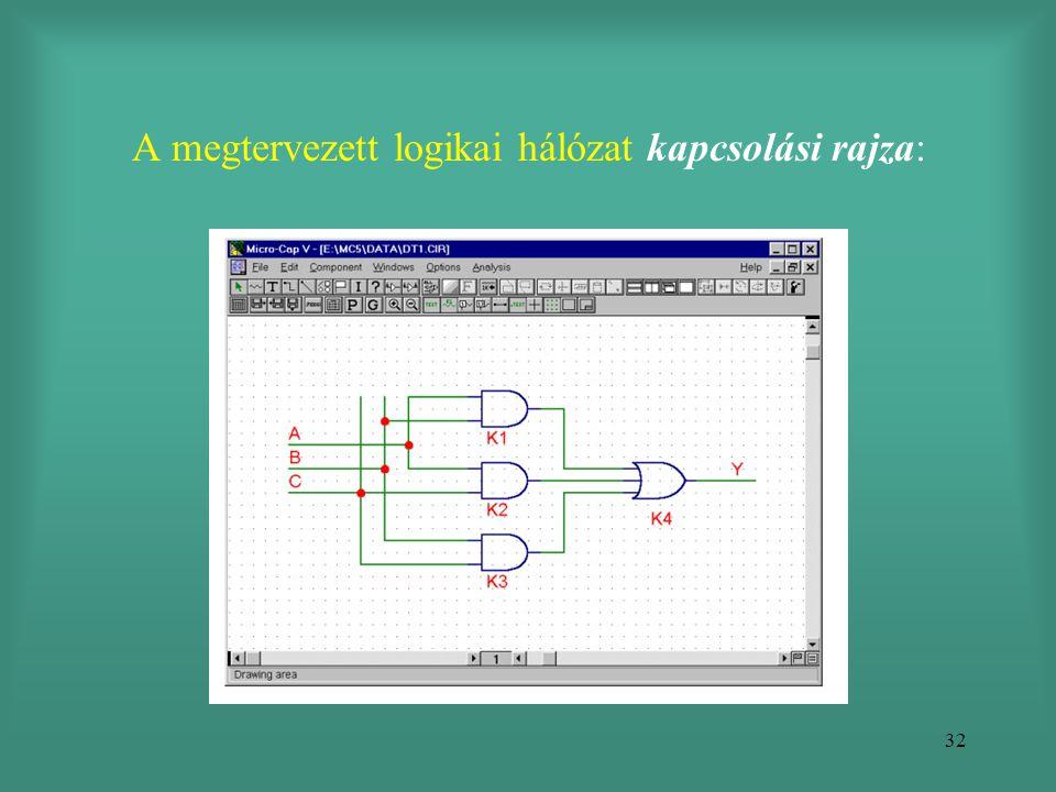 32 A megtervezett logikai hálózat kapcsolási rajza:
