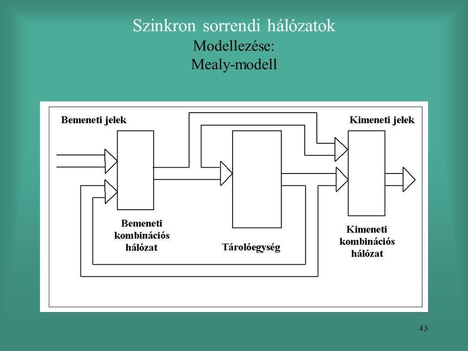 43 Szinkron sorrendi hálózatok Modellezése: Mealy-modell