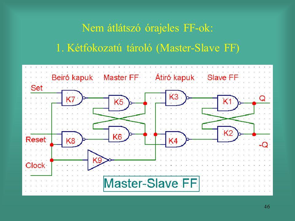 46 Nem átlátszó órajeles FF-ok: 1. Kétfokozatú tároló (Master-Slave FF)
