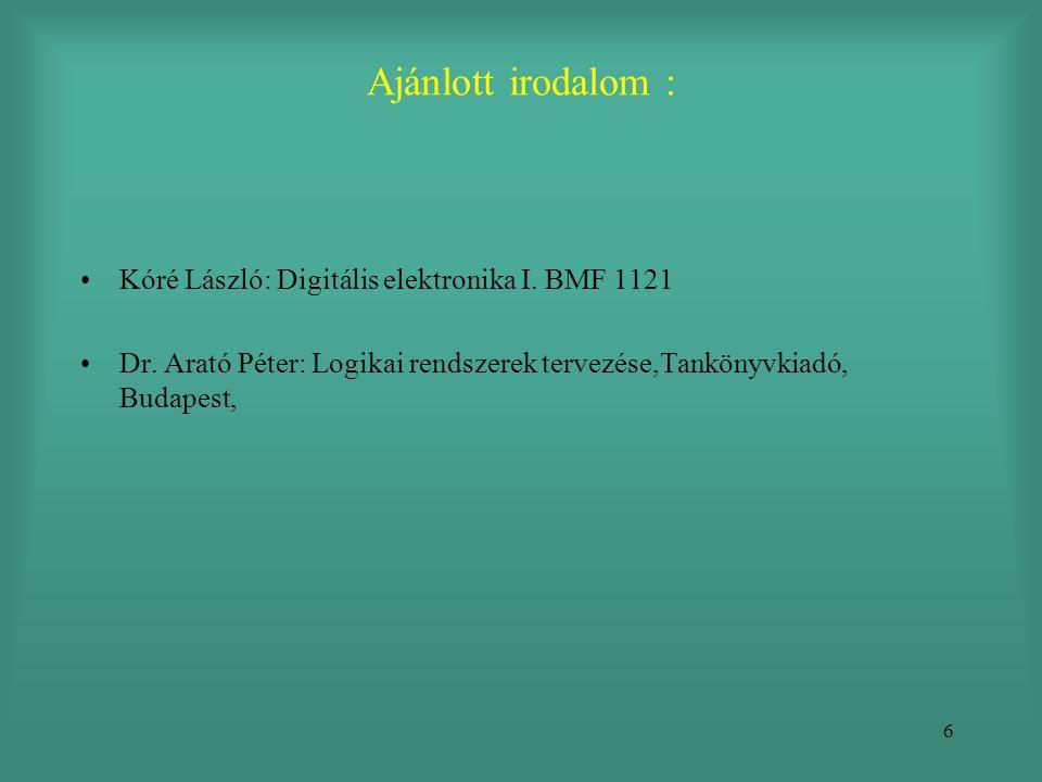 6 Ajánlott irodalom : •Kóré László: Digitális elektronika I. BMF 1121 •Dr. Arató Péter: Logikai rendszerek tervezése,Tankönyvkiadó, Budapest,