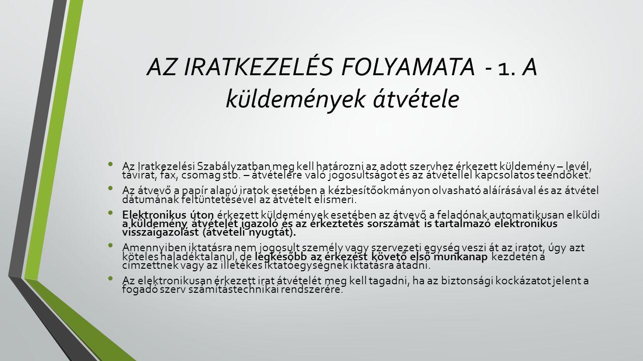 AZ IRATKEZELÉS FOLYAMATA - 1.
