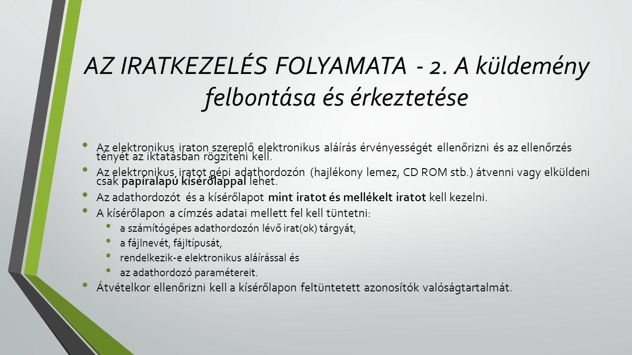 AZ IRATKEZELÉS FOLYAMATA - 2.