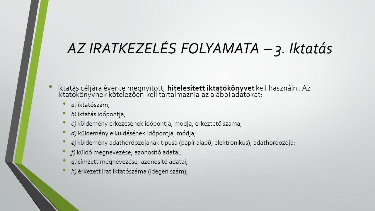 AZ IRATKEZELÉS FOLYAMATA – 3.