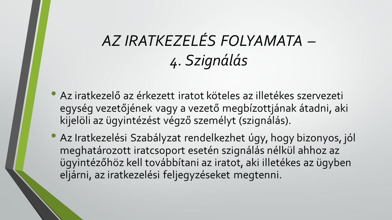AZ IRATKEZELÉS FOLYAMATA – 4.