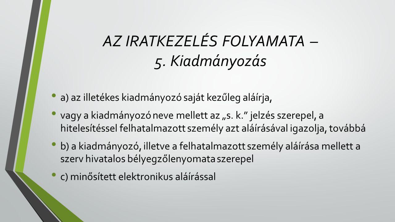 AZ IRATKEZELÉS FOLYAMATA – 5.
