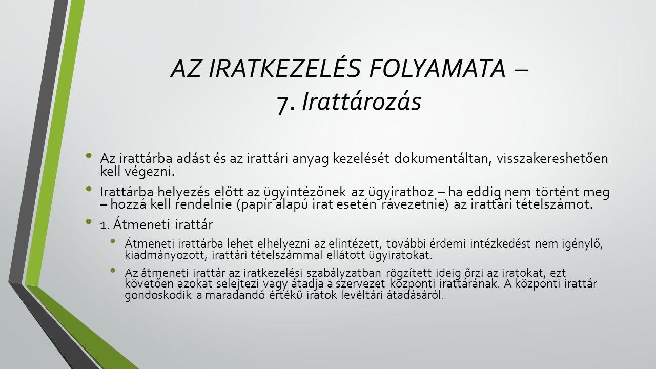 AZ IRATKEZELÉS FOLYAMATA – 7.