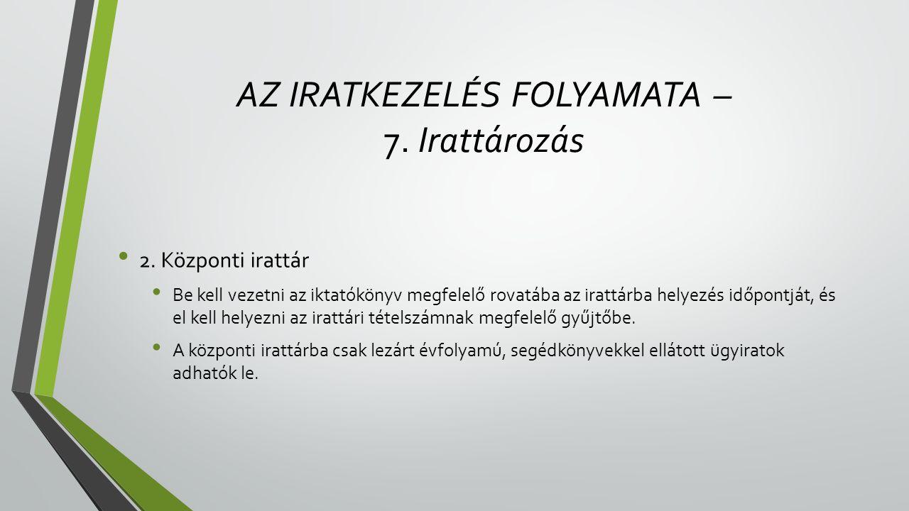 AZ IRATKEZELÉS FOLYAMATA – 7.Irattározás • 2.