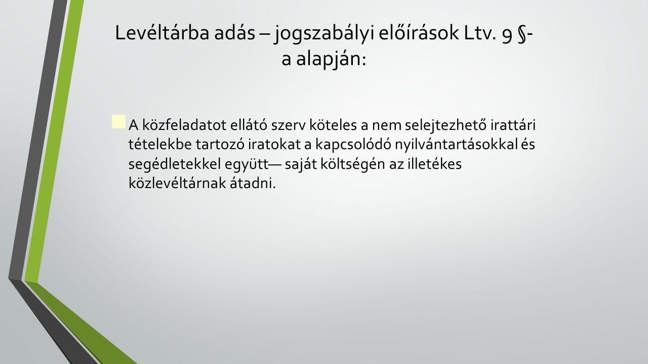 Levéltárba adás – jogszabályi előírások Ltv.