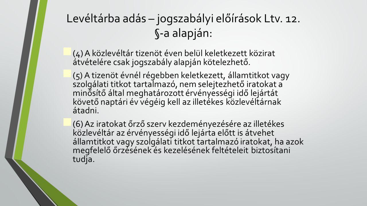 Levéltárba adás – jogszabályi előírások Ltv.12.