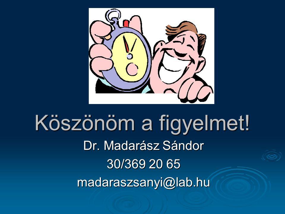 Köszönöm a figyelmet! Dr. Madarász Sándor 30/369 20 65 madaraszsanyi@lab.hu