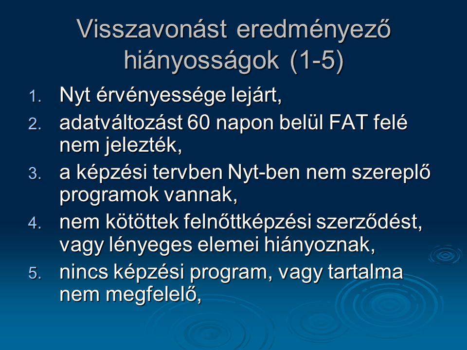 Visszavonást eredményező hiányosságok (1-5) 1. Nyt érvényessége lejárt, 2. adatváltozást 60 napon belül FAT felé nem jelezték, 3. a képzési tervben Ny