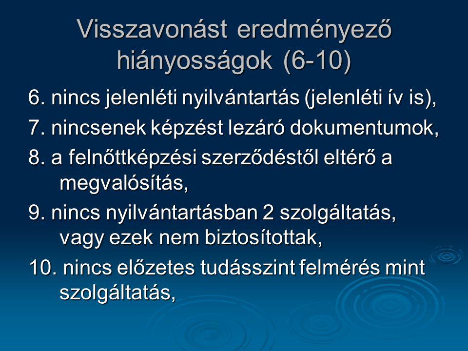 Visszavonást eredményező hiányosságok (6-10) 6. nincs jelenléti nyilvántartás (jelenléti ív is), 7. nincsenek képzést lezáró dokumentumok, 8. a felnőt