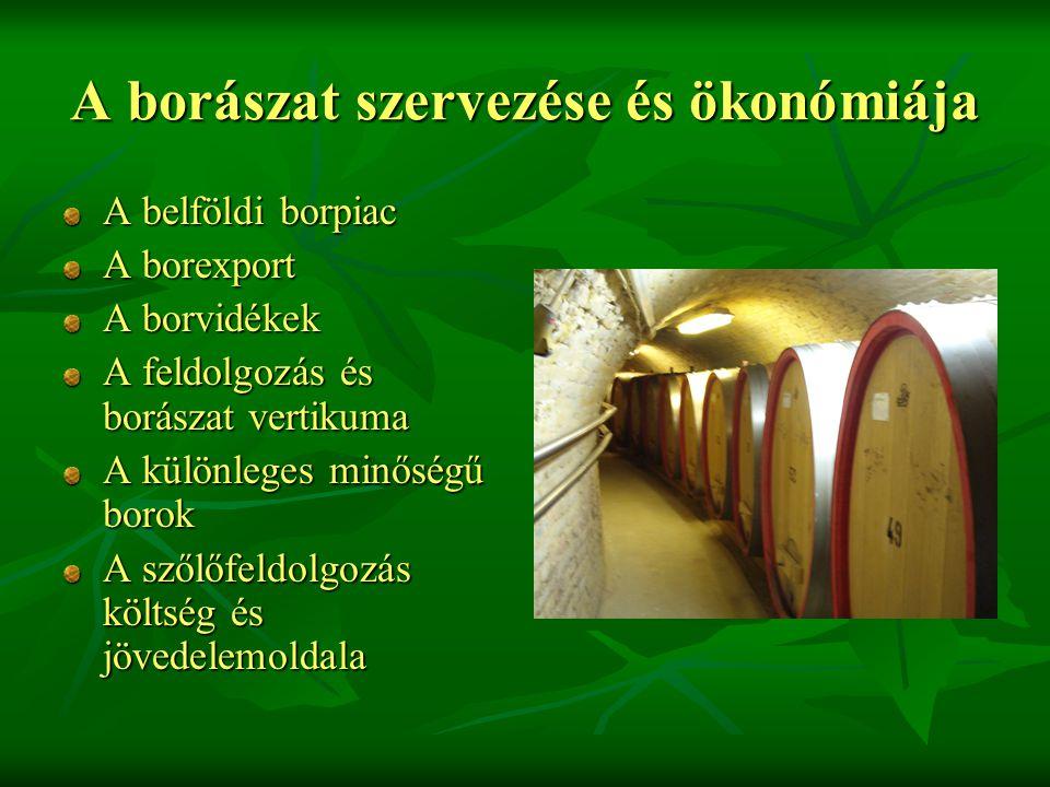 A borászat szervezése és ökonómiája A belföldi borpiac A borexport A borvidékek A feldolgozás és borászat vertikuma A különleges minőségű borok A szőlőfeldolgozás költség és jövedelemoldala