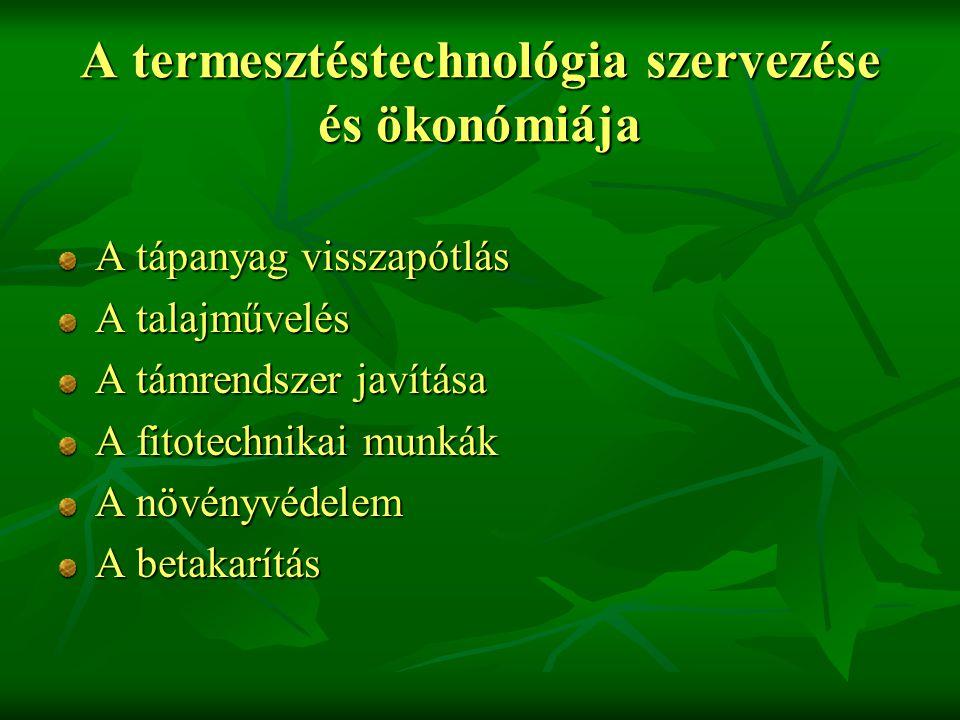 A termesztéstechnológia szervezése és ökonómiája A tápanyag visszapótlás A talajművelés A támrendszer javítása A fitotechnikai munkák A növényvédelem A betakarítás