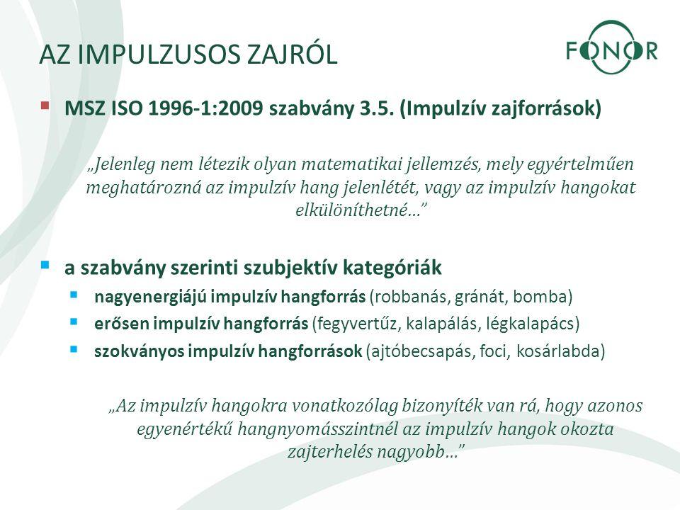 """AZ IMPULZUSOS ZAJRÓL  MSZ ISO 1996-1:2009 szabvány 3.5. (Impulzív zajforrások) """"Jelenleg nem létezik olyan matematikai jellemzés, mely egyértelműen m"""
