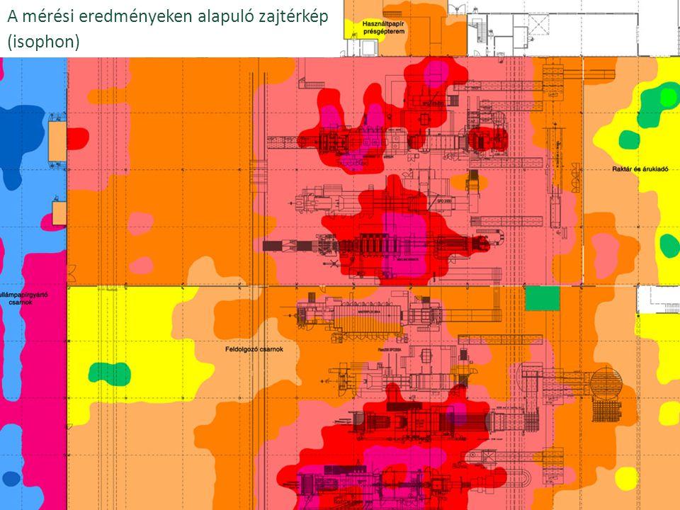 A mérési eredményeken alapuló zajtérkép (isophon)