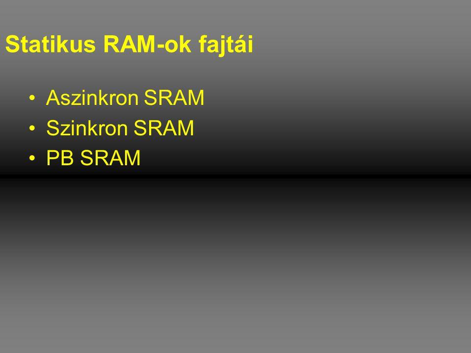 Statikus RAM-ok fajtái •Aszinkron SRAM •Szinkron SRAM •PB SRAM