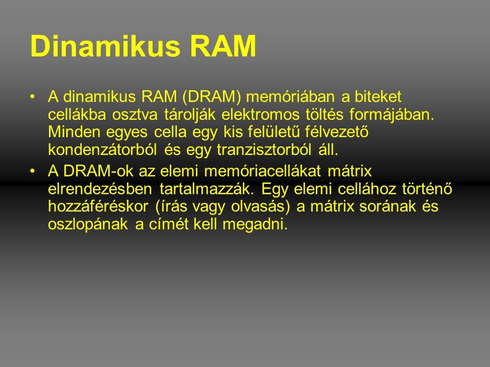 Dinamikus RAM •A dinamikus RAM (DRAM) memóriában a biteket cellákba osztva tárolják elektromos töltés formájában. Minden egyes cella egy kis felületű