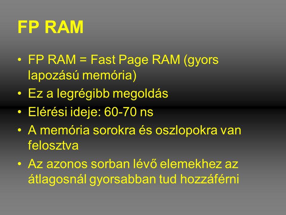 FP RAM •FP RAM = Fast Page RAM (gyors lapozású memória) •Ez a legrégibb megoldás •Elérési ideje: 60-70 ns •A memória sorokra és oszlopokra van feloszt