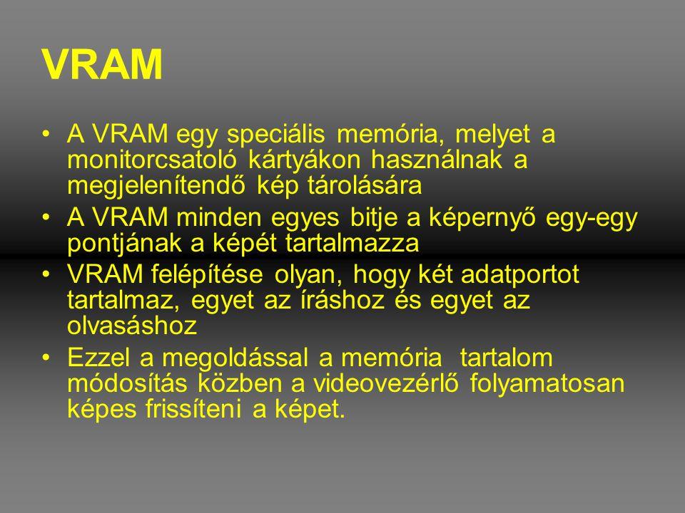VRAM •A VRAM egy speciális memória, melyet a monitorcsatoló kártyákon használnak a megjelenítendő kép tárolására •A VRAM minden egyes bitje a képernyő