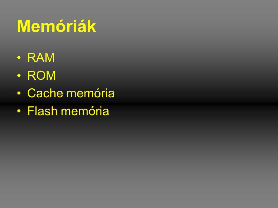 VRAM •A VRAM egy speciális memória, melyet a monitorcsatoló kártyákon használnak a megjelenítendő kép tárolására •A VRAM minden egyes bitje a képernyő egy-egy pontjának a képét tartalmazza •VRAM felépítése olyan, hogy két adatportot tartalmaz, egyet az íráshoz és egyet az olvasáshoz •Ezzel a megoldással a memória tartalom módosítás közben a videovezérlő folyamatosan képes frissíteni a képet.