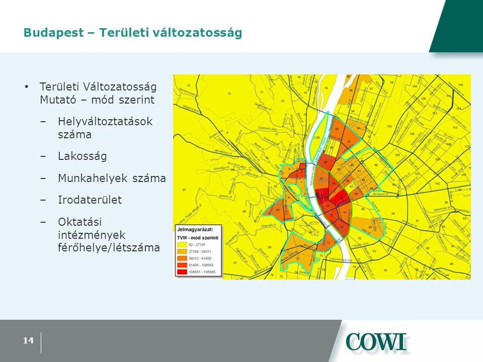 14 Budapest – Területi változatosság  Területi Változatosság Mutató – mód szerint –Helyváltoztatások száma –Lakosság –Munkahelyek száma –Irodaterület –Oktatási intézmények férőhelye/létszáma