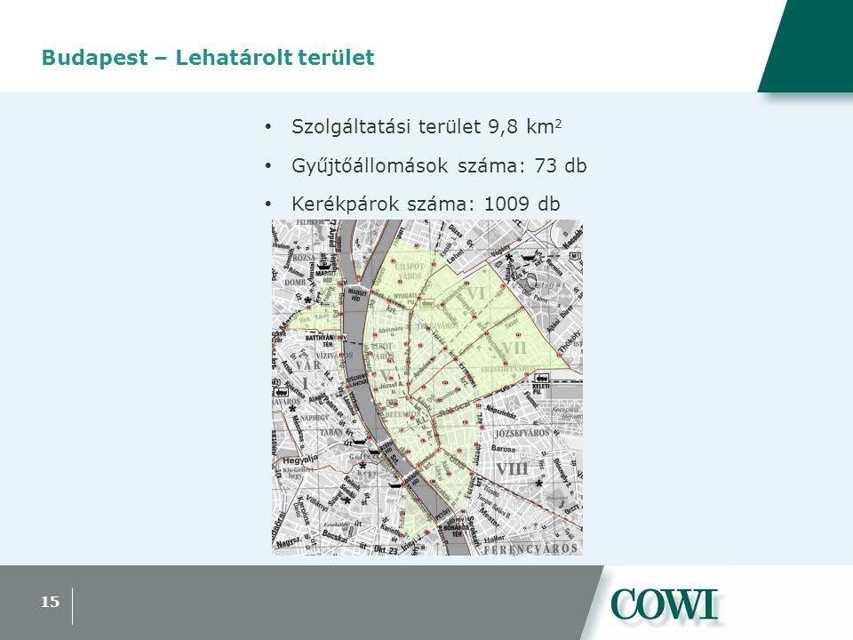 15 Budapest – Lehatárolt terület  Szolgáltatási terület 9,8 km 2  Gyűjtőállomások száma: 73 db  Kerékpárok száma: 1009 db
