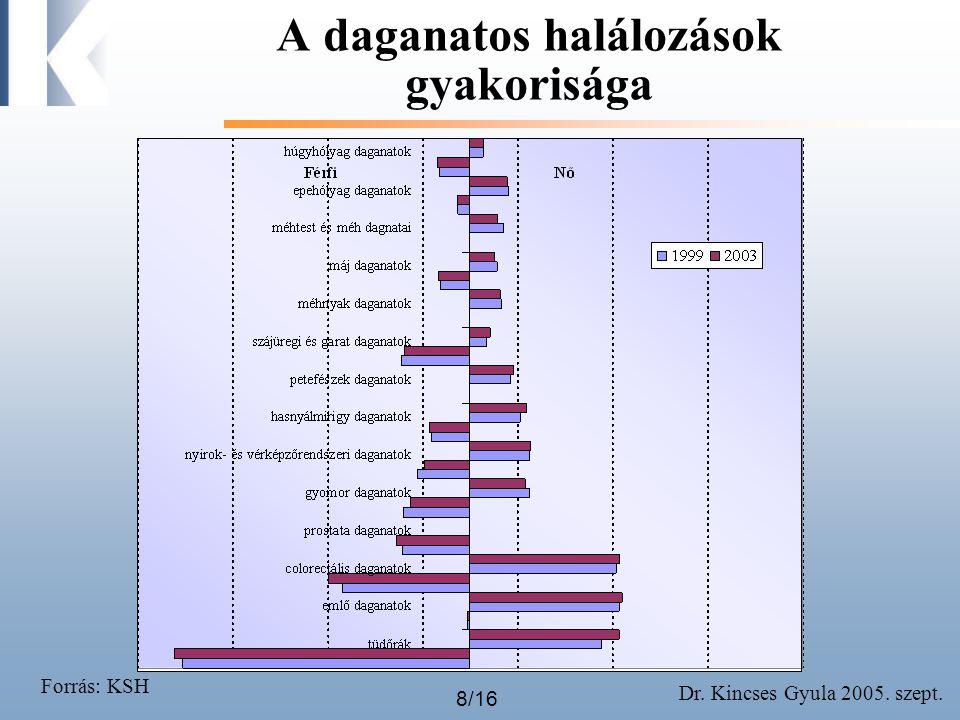 Dr. Kincses Gyula 2005. szept. 8/16 A daganatos halálozások gyakorisága Forrás: KSH