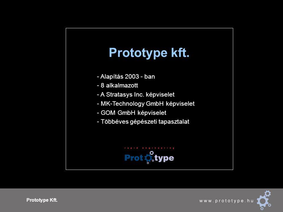 Prototype Kft. Prototype kft. - Alapítás 2003 - ban - 8 alkalmazott - A Stratasys Inc. képviselet - MK-Technology GmbH képviselet - GOM GmbH képvisele