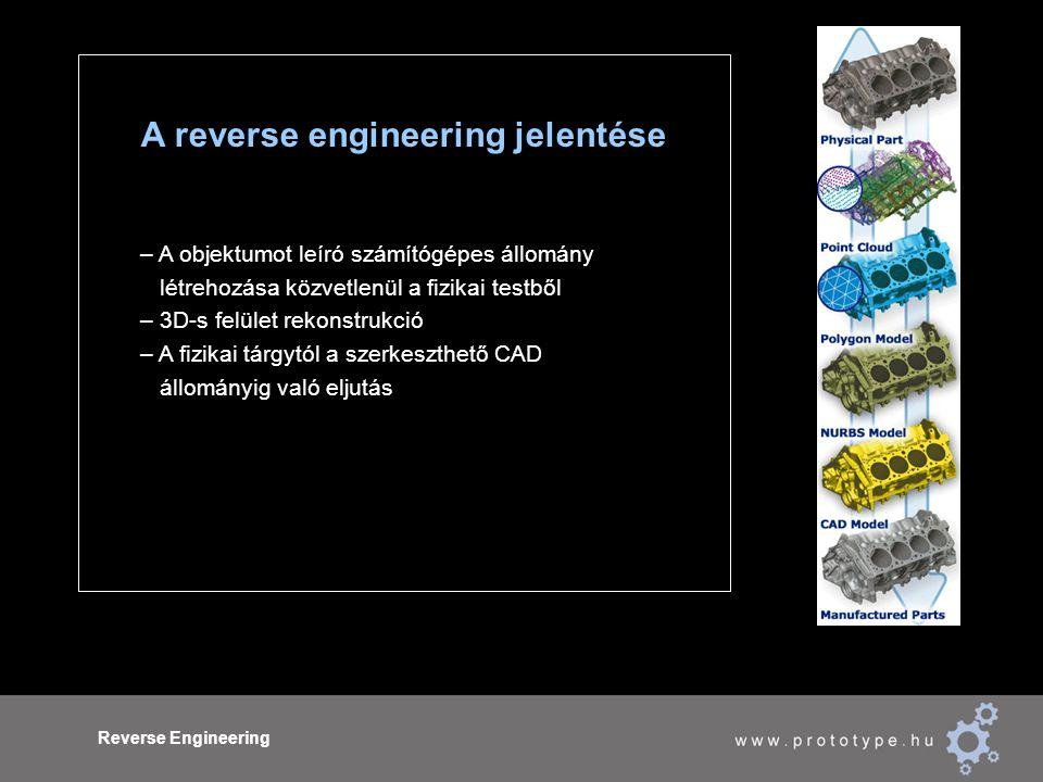 Reverse Engineering A reverse engineering jelentése – A objektumot leíró számítógépes állomány létrehozása közvetlenül a fizikai testből – 3D-s felület rekonstrukció – A fizikai tárgytól a szerkeszthető CAD állományig való eljutás